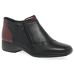Rieker - Black leather 'Jury' flat ankle boots