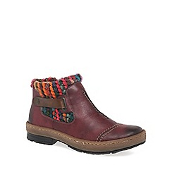 Rieker - Wine 'Rambler' Womens Knit Panel Ankle Boots
