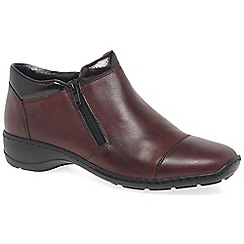 Rieker - Maroon leather 'Barbara' womens flat ankle boots