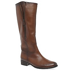 Gabor - Brown leather 'Louisa 2' flat knee high boots