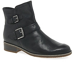 Gabor - Black leather 'Menorca' flat ankle boots