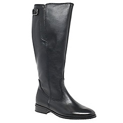 Gabor - Black leather 'Lovell XL' flat knee high boots