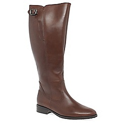 Gabor - Brown leather 'Lovell XL' flat knee high boots