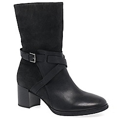 Gabor - Black leather/suede 'Laverne' mid heeled calf length boots
