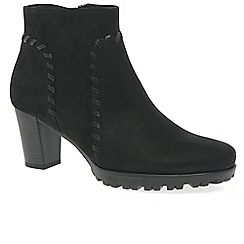 Gabor - Black nubuck 'Elan' mid heeled ankle boots