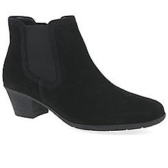 Gabor - Black nubuck 'Hoy' mid heeled chelsea boots
