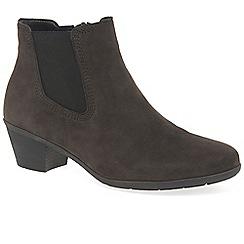 Gabor - Dark brown nubuck 'Hoy' mid heeled chelsea boots