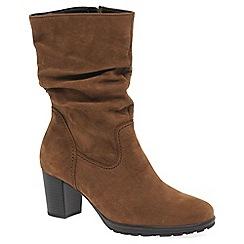 Gabor - Brown nubuck 'rotterdam' womens casual calf length boots