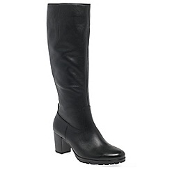 Gabor - Black leather 'Hillary S' slim fitting mid heel knee high boots