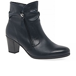 Gabor - Navy leather 'Ellie' mid heeled ankle boots