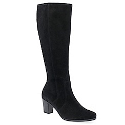 Gabor - Black suede 'Gavotte' mid heeled knee high boots