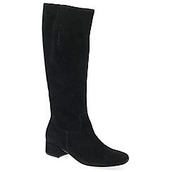 Gabor - Black suede 'Jorgie' low heeled knee high boots