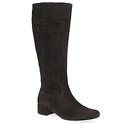 Gabor - Dark brown suede 'Jorgie' low heeled knee high boots