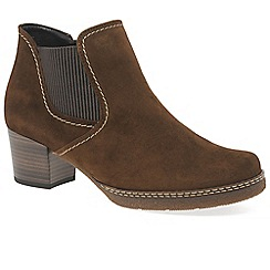 Gabor - Brown suede 'Lilia' mid heeled chelsea boots