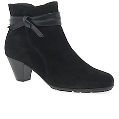Gabor - Black suede 'Tiffey' mid heeled ankle boots