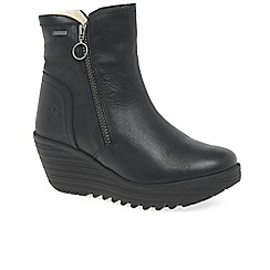 Fly London - Black leather 'Yolk' wedge ankle boots
