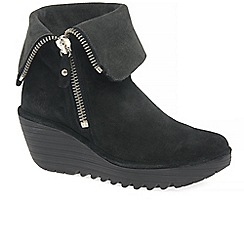Fly London - Black suede 'yex' high heel wedge ankle boots