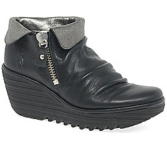Fly London - Black leather 'yoxi' high heel wedge ankle boots