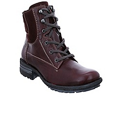 Josef Seibel - Maroon leather 'Sandra 64' flat lace up boots