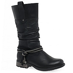 Rieker - Black 'Endless Womens' flat calf length boots