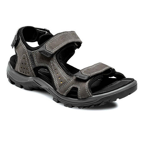 Ecco - Grey urchin men+s rip tape fastening sandals