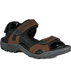 Ecco - Brown yucatan men's rip tape fastening sandals