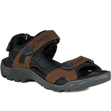 Ecco - Brown yucatan men+s rip tape fastening sandals