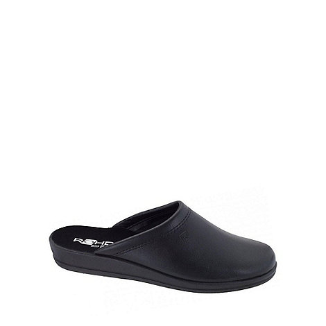 Rohde - Black mule leather mens slippers