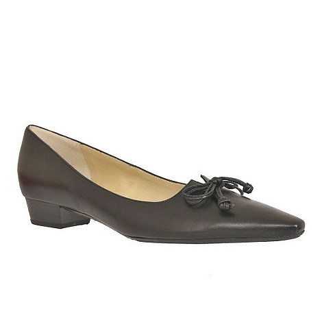 Peter Kaiser - Black Lizzy Black Leather Low Heel Court Shoes