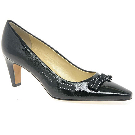 Peter Kaiser - Black patent +milli+ crackle patent ladies court shoes