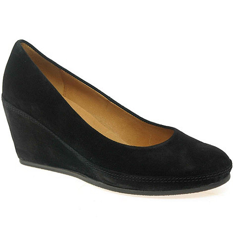Gabor - Black +teller+ womens wedge heeled court shoes