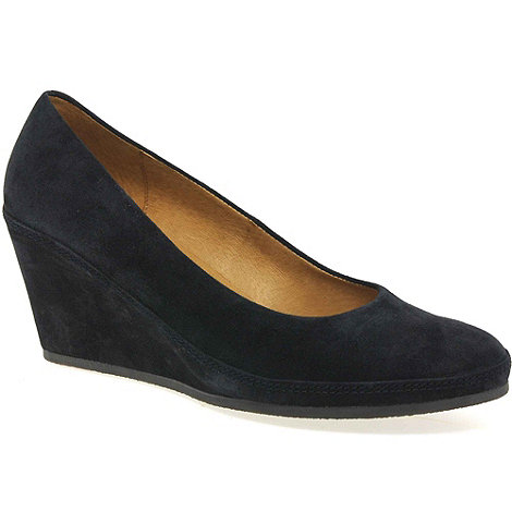 Gabor - Blue +teller+ womens wedge heeled court shoes