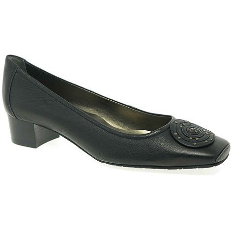 Van Dal - Black 'Wells' Low Heel Leather Court Shoes