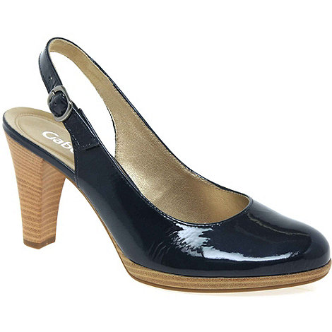 Gabor - Navy +cedarwood+ womens slingback court shoes
