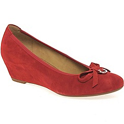 Gabor - Red amorette womens wedge heeled court shoes