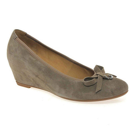 Gabor - Taupe amorette womens wedge heeled dress court shoes