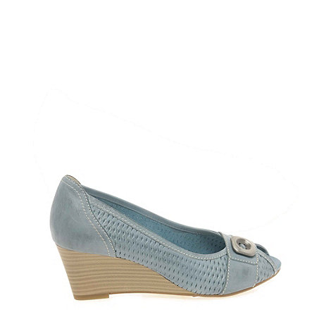 Marco Tozzi - Light blue Lattice Womens Wedge Heeled Court Shoes