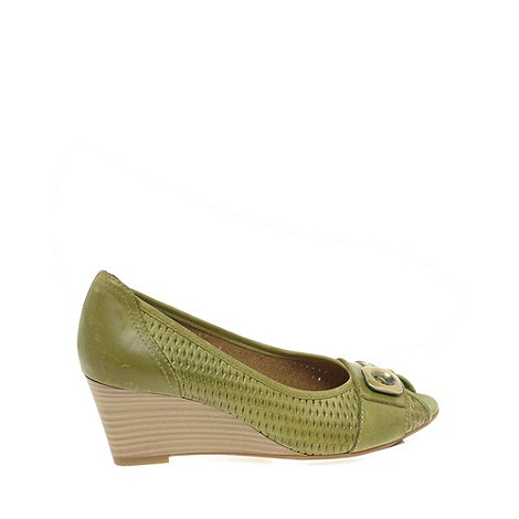 Marco Tozzi - Green Lattice Womens Wedge Heeled Court Shoes