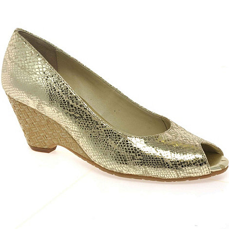 Van Dal - Gold +Malta+ womens wedge heeled shoes