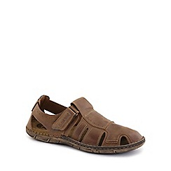 Josef Seibel - Light brown 'Paul' Mens Rip Tape Fastening Sandals