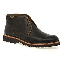 Pikolinos - Dark brown 'gloss' mens lace up boots