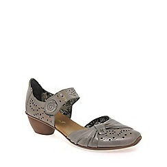 Rieker - Taupe 'Mirjam' button trim heeled courts