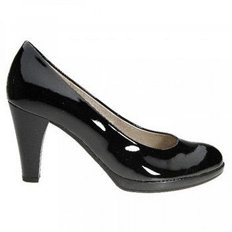 Gabor - Black patent soria platform court shoes