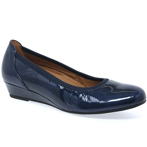 Gabor - Navy +Chester+ ladies wide fit low wedge pumps
