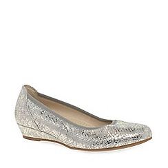 Gabor - Metallic 'Chester' ladies wide fit low wedge pumps