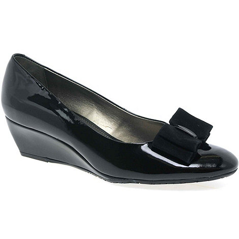 Van Dal - Black Patent +Lille Ii+ Bow Trimmed Wedges