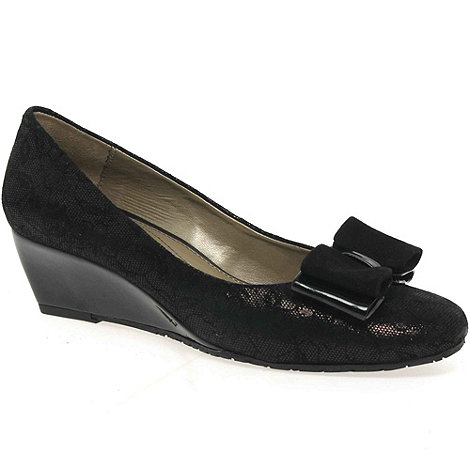 Van Dal - Near black +lille ii+ bow trimmed wedges