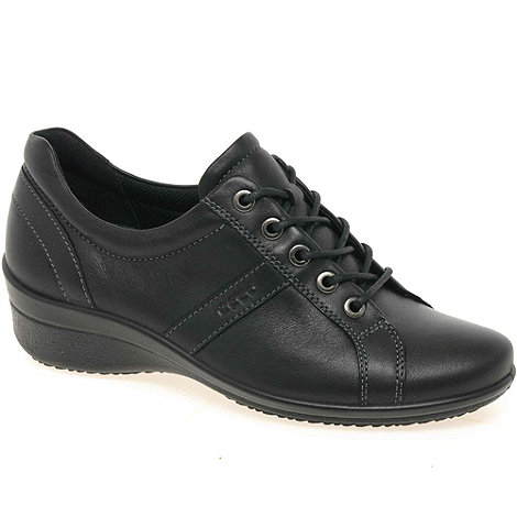 Ecco - Black Award Lace Up Low Wedge Leather Shoes