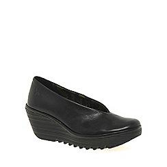 Fly London - Black 'Yaz' Ladies Black Leather Wedge Heeled Shoes
