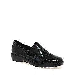 Rieker - Black patent 'doran' patent croc shoes